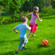 Kids playing with the ball — Stock Photo