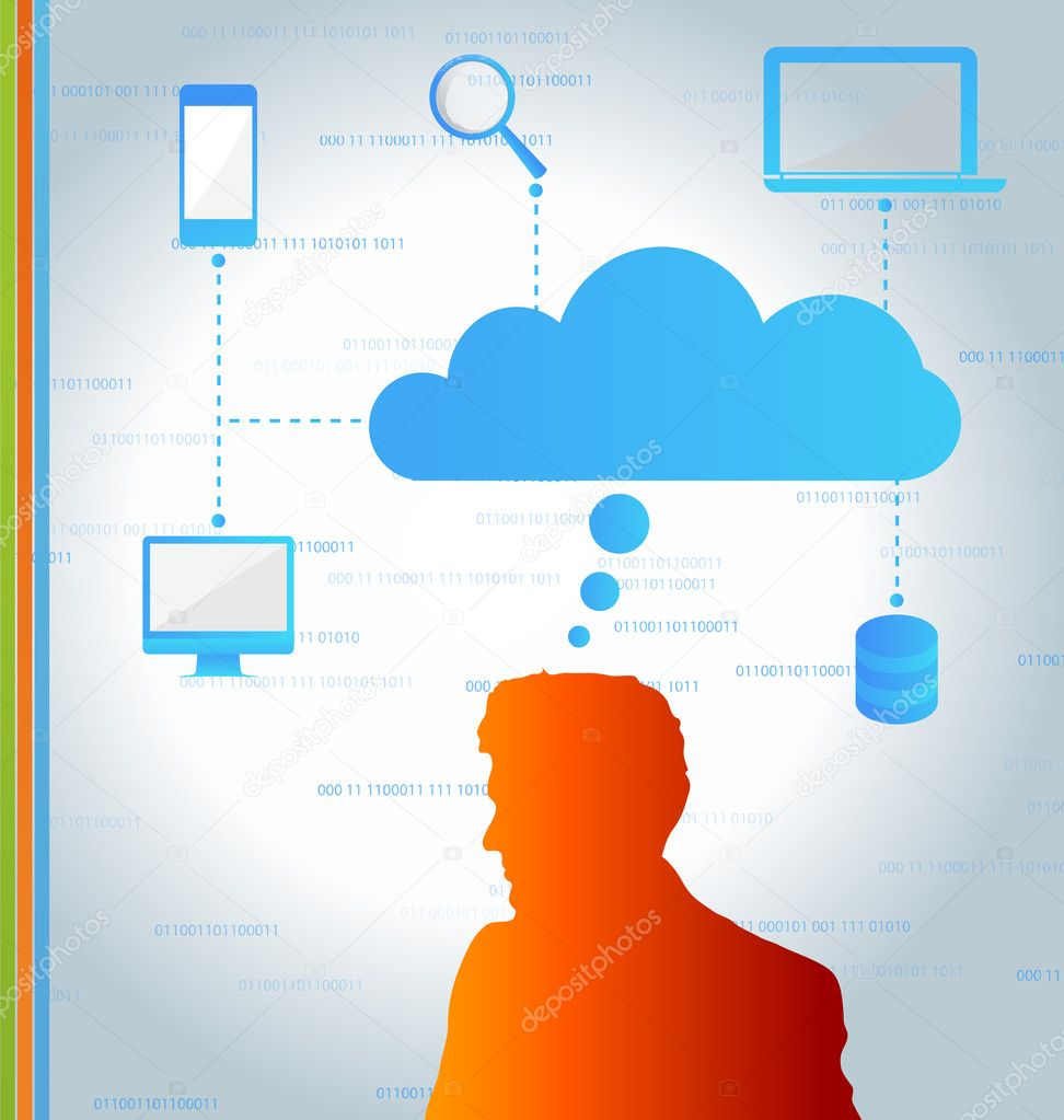 Cloud computing concept- Client computers communicating with resources located in the cloud — Stock Vector #10690553