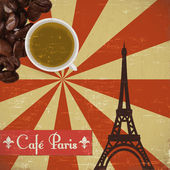 Grungy French coffee background — Stock Vector