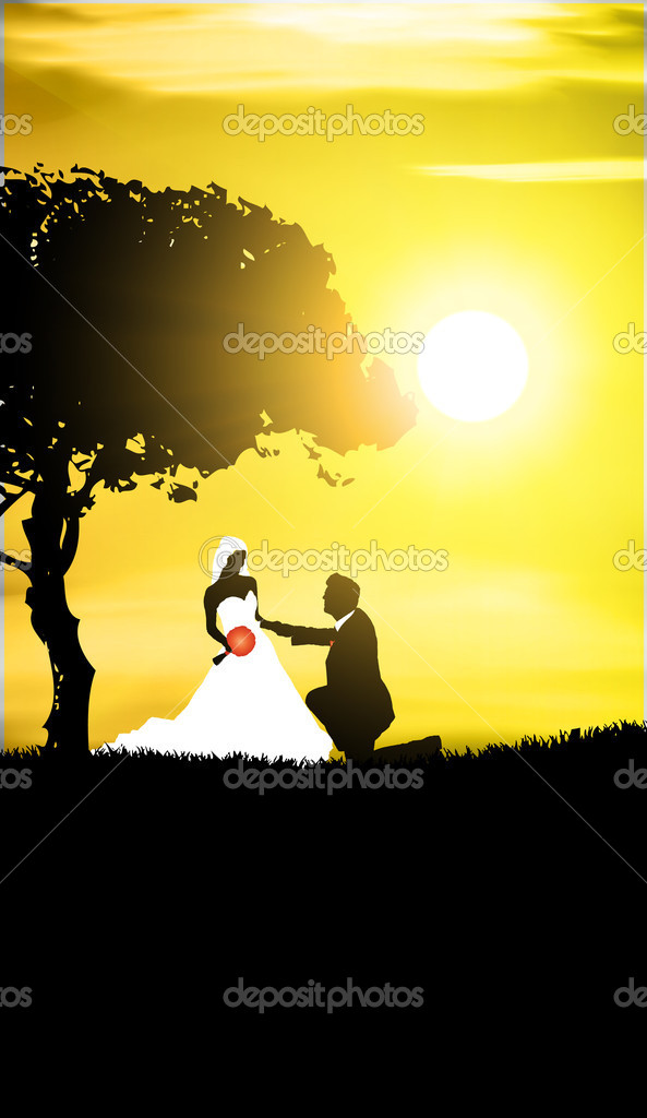 Wedding background -man and woman in the evening  Stock Vector #8317591