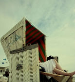 Beach chair on the north sea vintage — Stock Photo