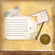 Vintage background with old paper, letters and coffe — Stock Vector
