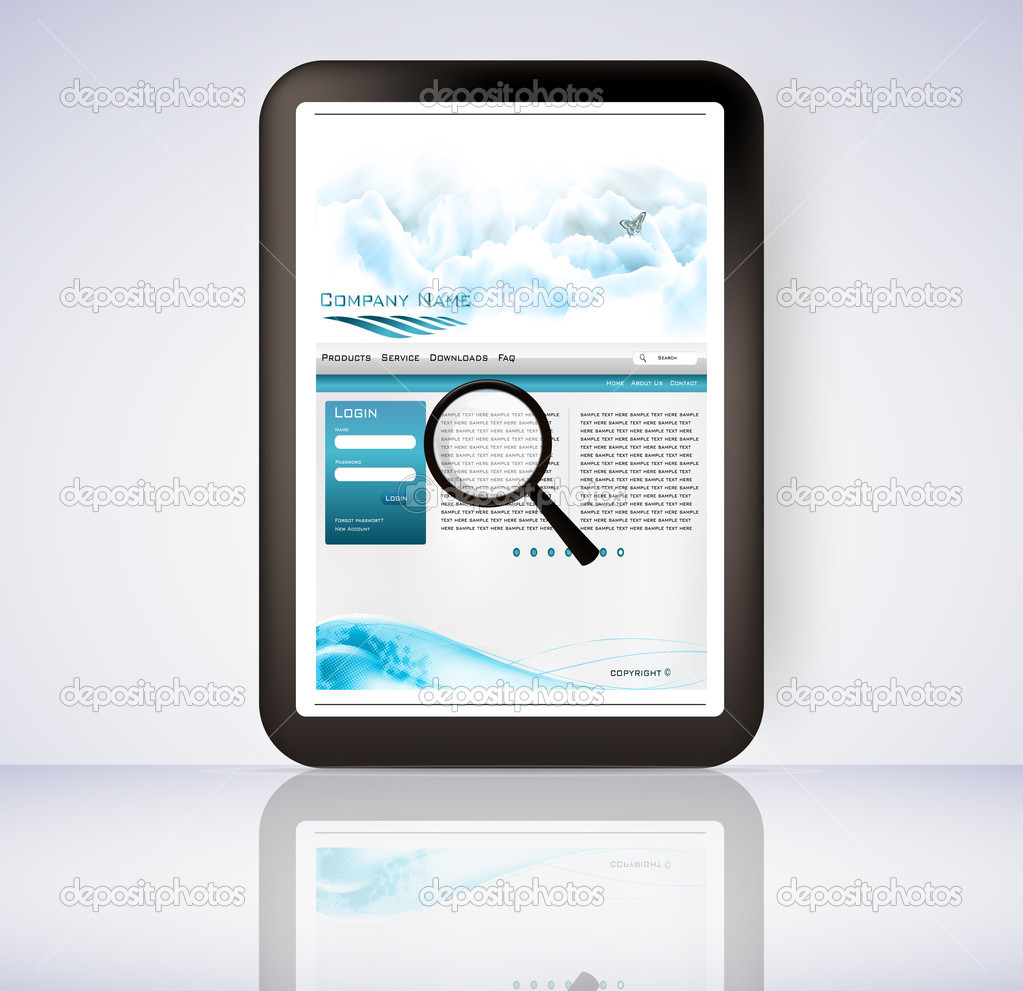 3d illustration of a magnifying glass hovering over a computer display showing a file folder — Stock Vector #8421271