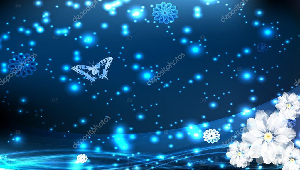 浅蓝色背景与花 — 矢量图片作者