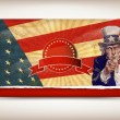 Patriotic usa background with uncle sam — 图库矢量图片