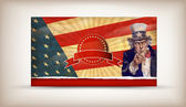 Patriotic usa background with uncle sam — Stok Vektör
