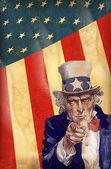Patriotic usa background with uncle sam — Stockvektor