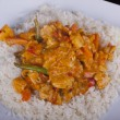 Stock Photo: Chicken in Red Thai Curry with Rice
