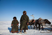 The family of reinder herders in winter — Stock Photo