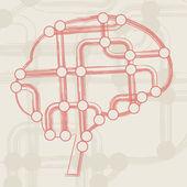 Circuit board form of brain — Vecteur