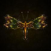 Shiny abstract dragonfly — Stock Vector