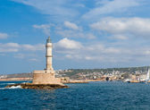View on venetian lighthouse and harbour in Chania — Stock Photo