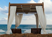 Pavilion for relax on the beach in resort — Stock Photo