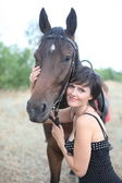 The girl and horse — Stock Photo
