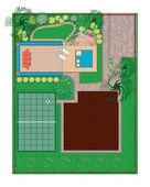 Rock garden with a pond — Stock Vector