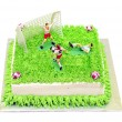 Football cake with player miniature — Stock Photo #8813888