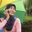 Beautiful young muslim lady talk to mobile phone — Stock Photo #8818629