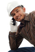 Happy workers smile when talk on mobile phone — Stock Photo