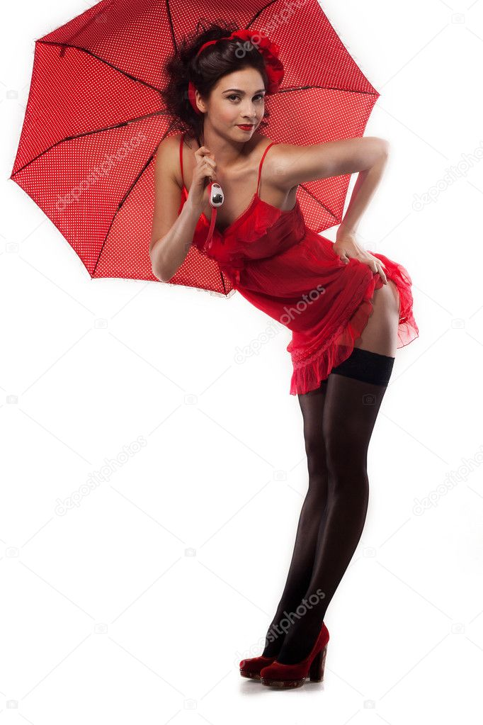 Beautiful girl pin up style with umbrella stock photo jg gordienko 8264598 - Pin up style ...
