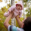 Happy man with little baby girl — Foto de Stock