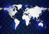 Mapa světa s zvláštní kovové konstrukce — Stock vektor