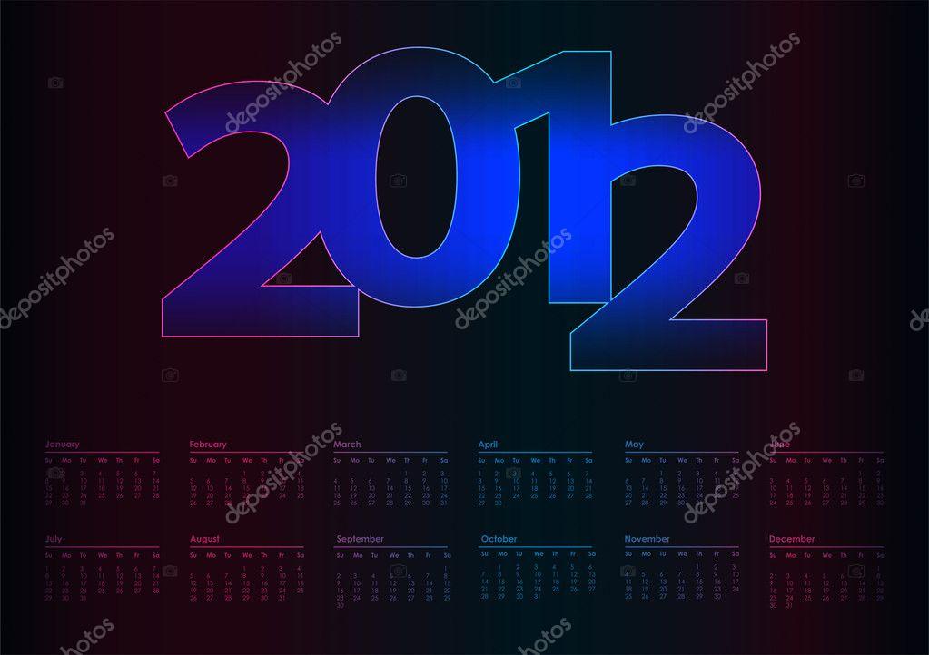 2012 年矢量日历