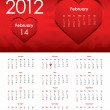 Special calendar for 2012 with valentine design — Imagen vectorial