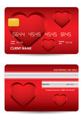 Special red credit card with valentine — Stock Vector