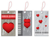 Collection of various price tags with valentine design — Stock Vector