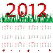 Special calendar for 2012 with ladybirds — Stock Vector