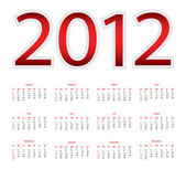 Calendar for 2012 — Vector de stock