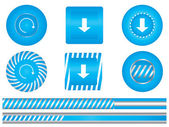Set of special blue download buttons — Stockvector