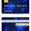 Stock Vector: Special blue vector credit card, front and back view