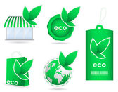 Special green eco friendly template icon collection — Stock Vector