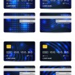 Special blue vector credit card set, front and back view — Stock Vector #9657515