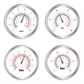 Set of manometers, isolated on white background — Stock Vector
