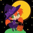 Stock Vector: Illustration of Halloween baby witch