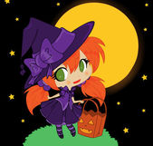 Illustration of Halloween baby witch — Stock Vector