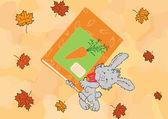 Bunny med en bok — Stockvektor