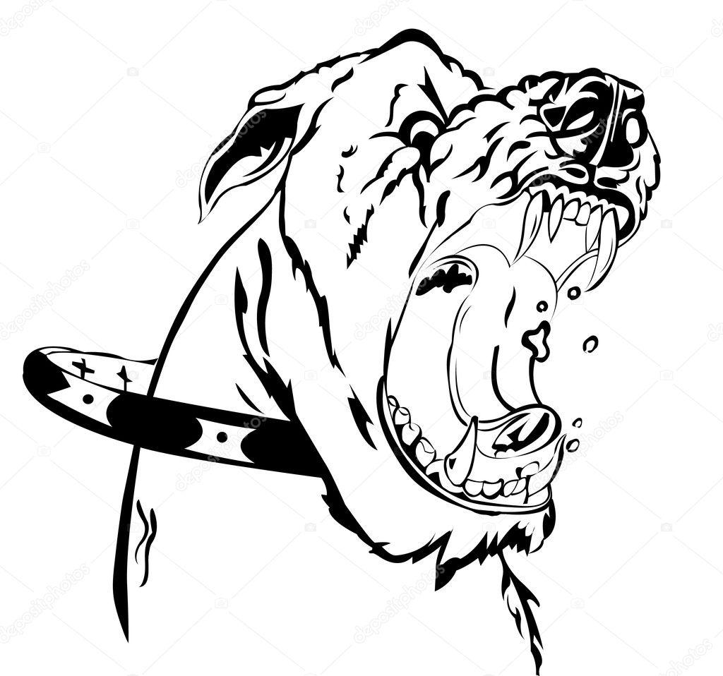 Angry Pitbull Dog Draw...