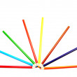 Stock Photo: Fanned out color pencils.