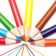 Fanned out color pencils. — Stock Photo