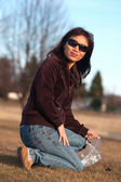 Asian woman in the park. — Stock Photo