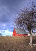 汚れフィールドによって赤い納屋. — ストック写真