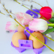 Eggs with tulip flowers and willow branches — Foto Stock