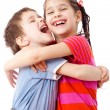 Stock Photo: Two funny kids standing together