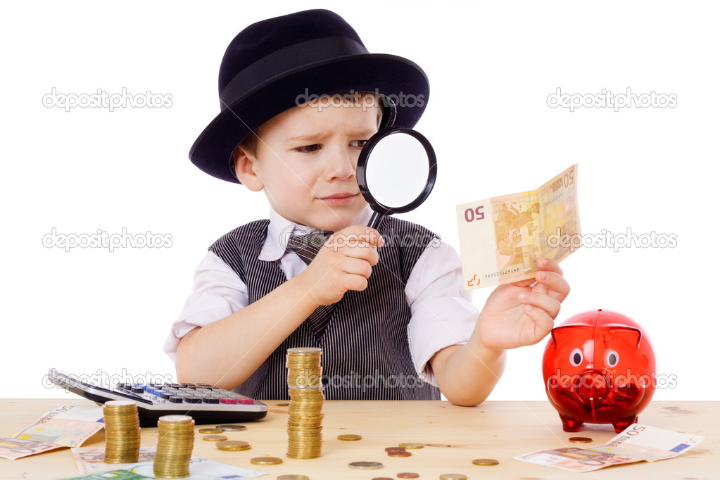 Little businessman checks the money with magnifying glass, isolated on white — Stock Photo #10225979