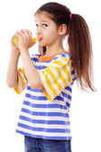 Cute girl with glass of juice — Stock Photo