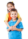 Two happy kids standing together — Stock Photo