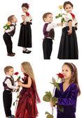 Dziewczynka chłopiec i róża — Zdjęcie stockowe